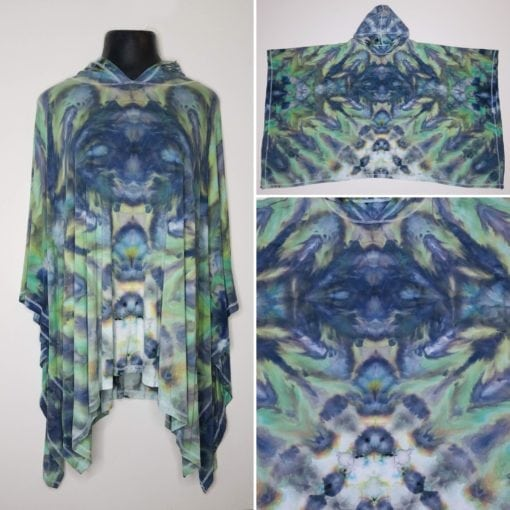 Bambooty Hooded Poncho Hand Dyed 09