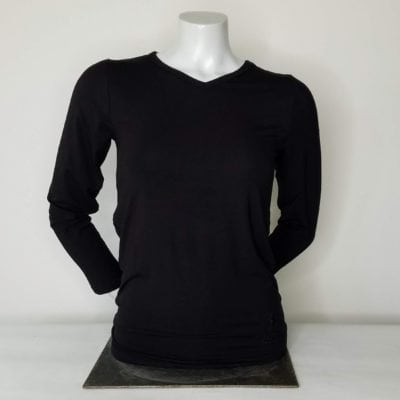 Ladies VNeck Long Sleeve Black