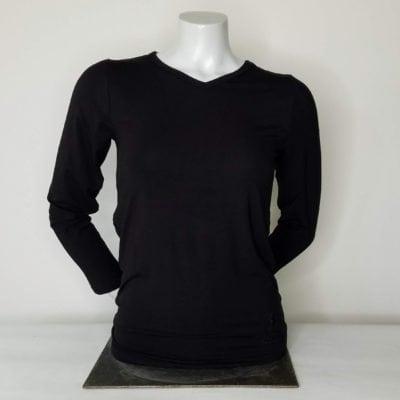 Ladies VNeck Long Sleeve Black
