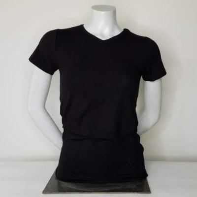 Ladies Short Sleeve VNeck Black