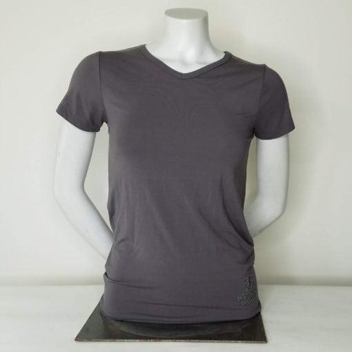 Ladies Short Sleeve VNeck Slate Gray