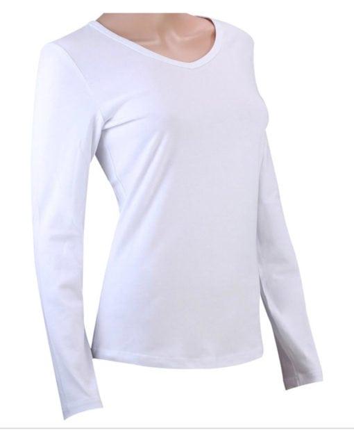 white v neck long sleeve